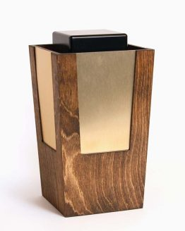 Wooden Artistic Cremation Ashes Urn Bronze Metal