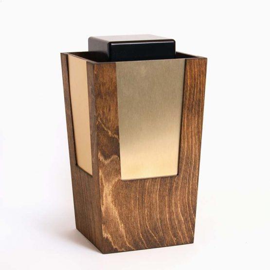 Wooden Artistic Cremation Ashes Urn Bronze Metal