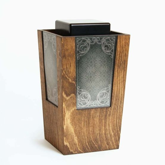 Wooden Artistic Cremation Ashes Urn Carved Metal