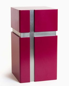 Modern Design Urn for Ashes Crossed Lines Red
