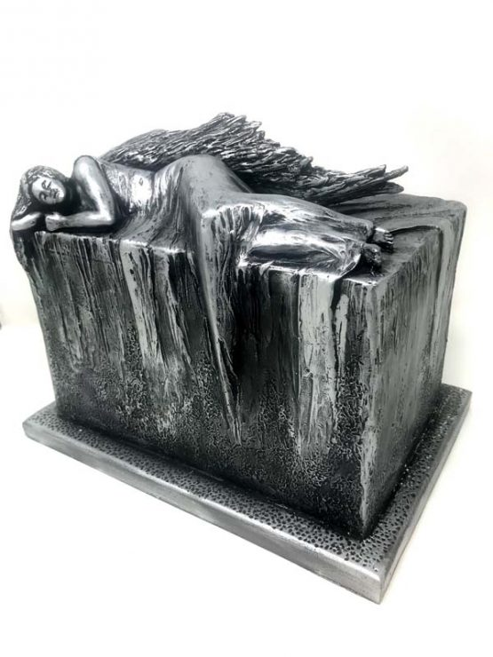 Resting Angel Outdoor Cremation Urn Steel