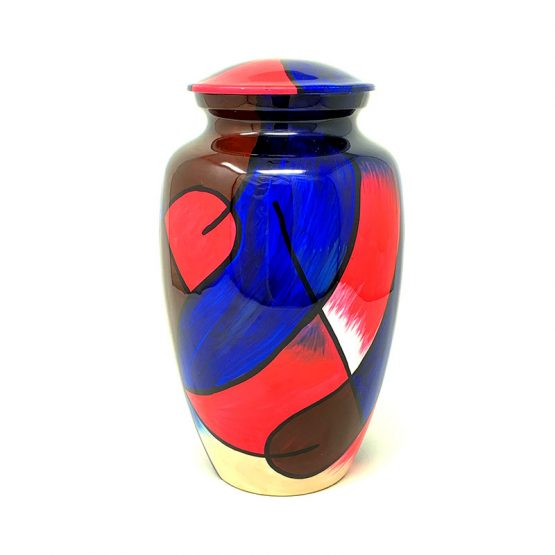 Metal Cremation Urn for Ashes Hand Painted Colours