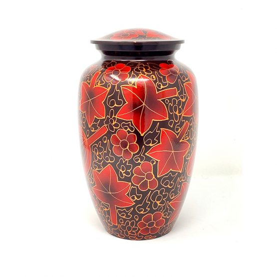 Metal Cremation Urn for Ashes Red Leaves