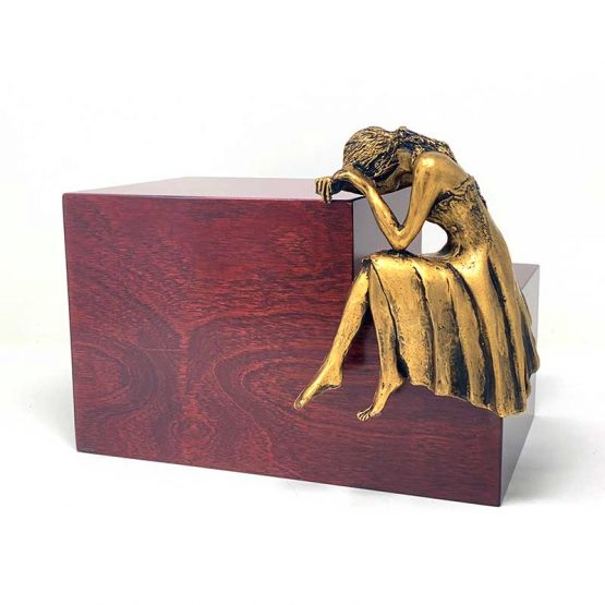 Weeping Woman Adult Cremation Urn Mahogany Bronze