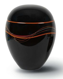 Black Cremation Urn for Ashes Resin Black Orange