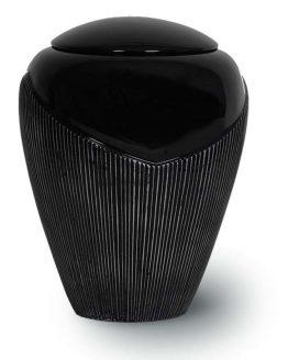Cremation Urn Resin Black Stripes