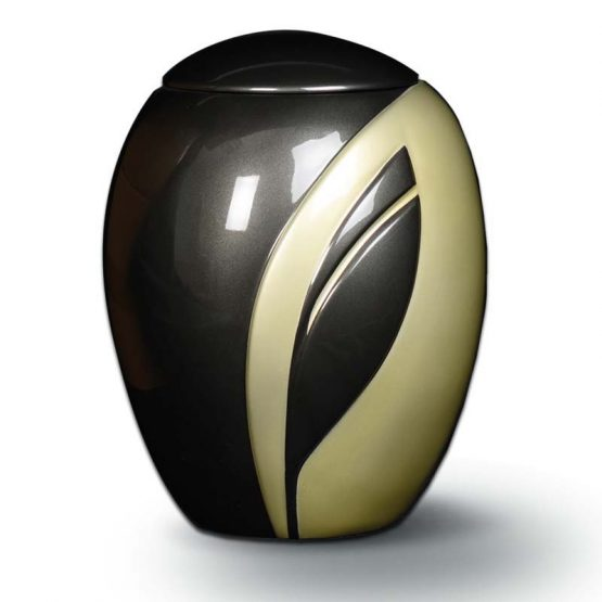 Fibreglass Hand-Painted Urn for Ashes Leaf Grey