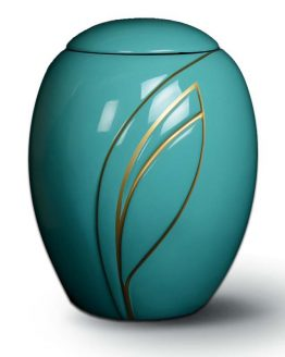 Fibreglass Hand-Painted Urn for Ashes Leaf Turquoise