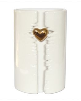 Ceramic Heart Cremation Urn White