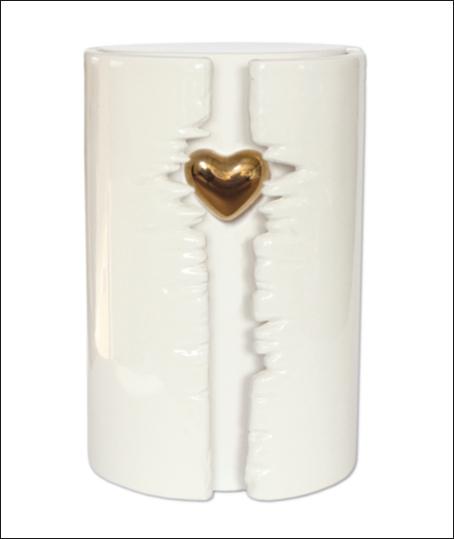 Ceramic Heart Cremation Urn White