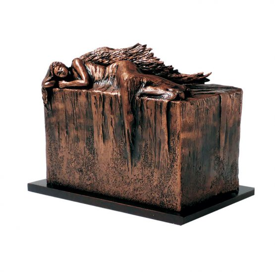 Resting Angel Outdoor Cremation Urn Copper