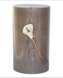 Ceramic Cremation Urn Lily in Statue Brown