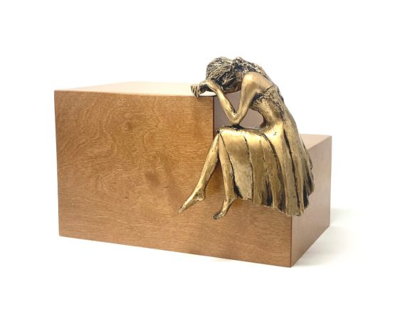 Weeping Lady Urn For Ashes Light Walnut Bronze