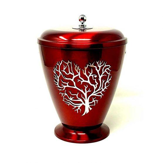 Red Metallic Urn Tree of Life