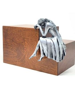 Weeping Woman Adult Cremation Urn Walnut Steel