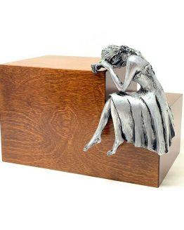 Weeping Woman Adult Cremation Urn Walnut Steel