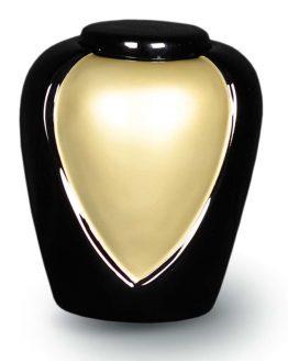 Fibreglass Cremation Ashes Urn Memorial Black Cream