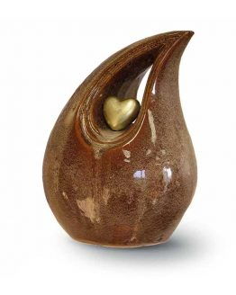 Ceramic Cremation Urn Brown Teardrop