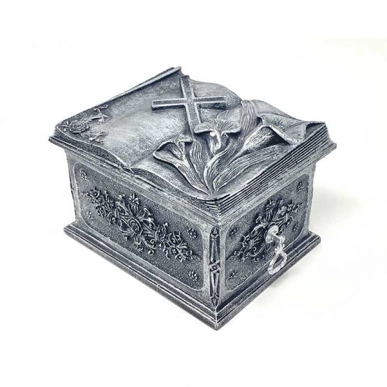 Composite Stone Cremation Casket Lily and Cross Silver