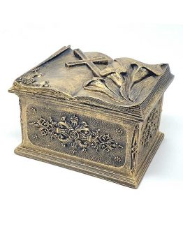 Composite Stone Cremation Casket Lily and Cross Bronze