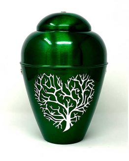 Metal Urn Tree Of Life Green