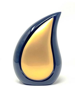 Teardrop Brass Funeral Urn for Ashes Gold