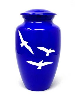 Painted Birds Metal Urn for Ashes Blue