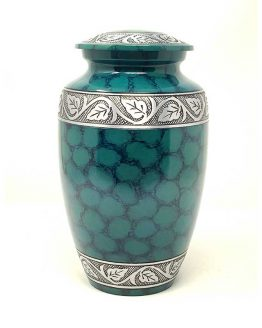 Green Metal Cremation Ashes Urn Classic Vase