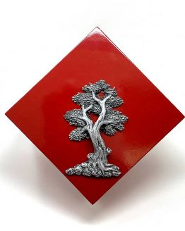 Modern Cremation Urn for Ashes Tree of Life Red