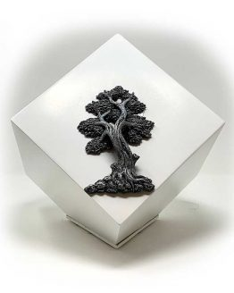 Modern Geometric Urn for Ashes Tree of Life White