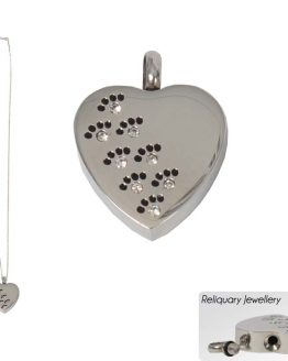 Metal Cremation Pendant for Ashes Heart Paws