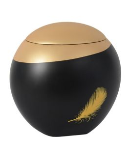 Black Fibreglass Cremation Ashes Urn Feather