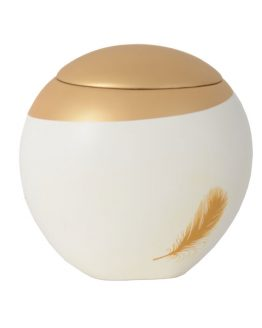 White Fibreglass Cremation Ashes Urn Gold Feather