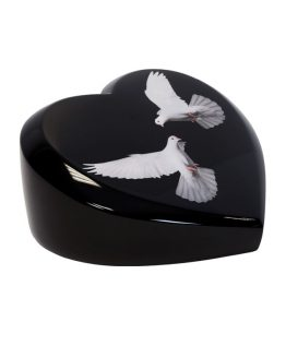 Black Cremation Ashes Urn Heart Resin with Doves