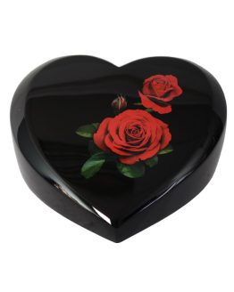Black Cremation Ashes Urn Heart Resin Painted Roses