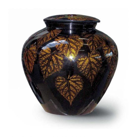 Ceramic Cremation Urn Adult Hand-painted Vase Leaves