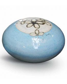 Round Urn For Ashes Ceramic Blue