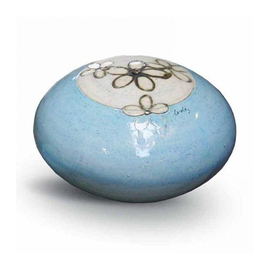 Round Urn For Ashes Ceramic Blue