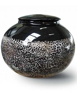 Ceramic Cremation Urn For Ashes Black&White
