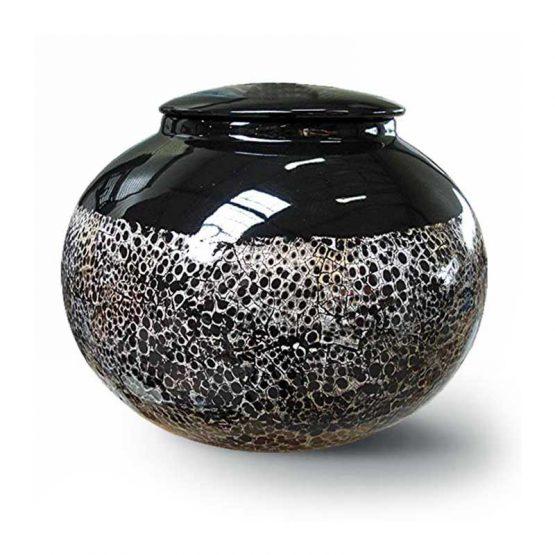 Ceramic Cremation Urn For Ashes Black&White