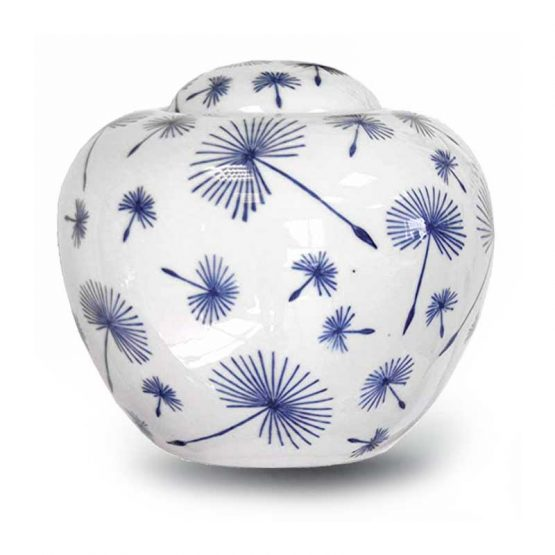 Ceramic Cremation Urn For Ashes Painted Puff-Balls