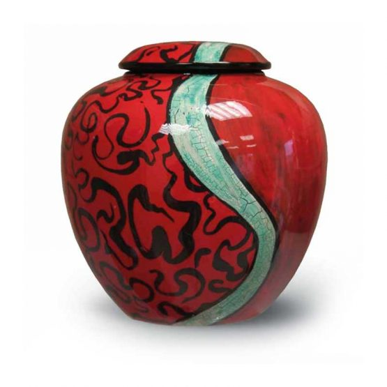 Ceramic Cremation Urn Adult Hand-painted Red