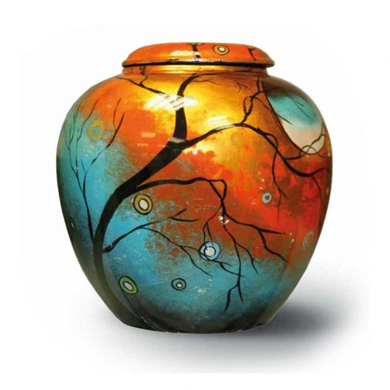 Ceramic Cremation Urn Adult Hand-painted Tree