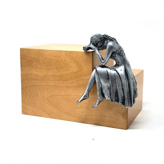 Weeping Woman Adult Cremation Ashes Urn Steel