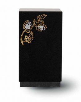 Granite Cremation Ashes Urn Adult Black Engraved Rose
