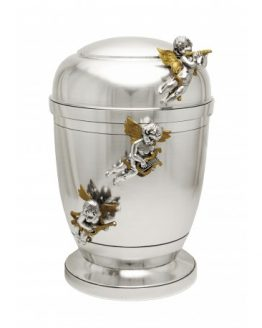 Exclusive Silver Pewter Adult Cremation Ashes Urn Gold Angels
