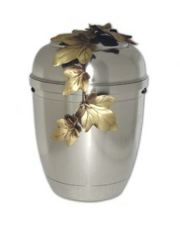 Silver Pewter Adult Cremation Ashes Urn Maple Leaves