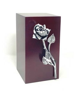 Wooden Urn with Hand forged Rose Silver