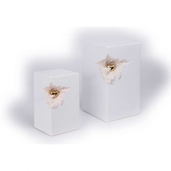 Ceramic Cremation Urn for Ashes Oblong Heart White