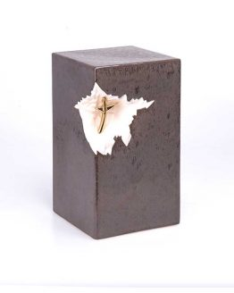 Black Ceramic Cremation Urn for Ashes Statue Cross